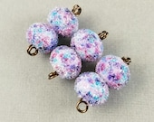 Fairy Lights Sugar - Frosted Lampwork Bead Pair Iced Sugared - Artist Handmade