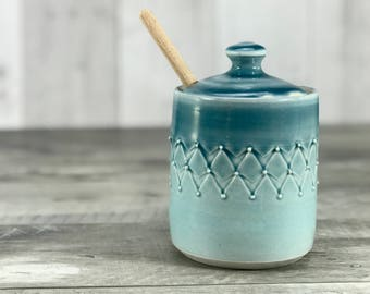 Handmade honey pot. Porcelain honey pot. Blue ombrè glazed with stamped pattern. Handmade honey pot. Ceramic honey jar. Wooden honey dipper.