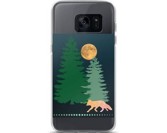 Fox & Moon Cell Phone Case Samsung Galaxy S7, S8, S8+, S7 Edge Foxes Woodland Creature Woods