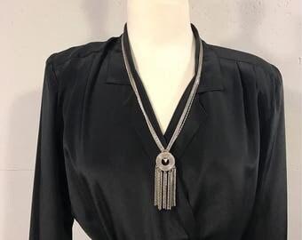 Vintage Monet 80s necklace, Silver multi chain necklace, 80s pendant necklace, Boho silver necklace