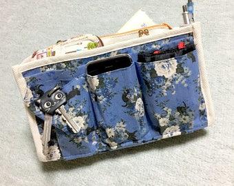 Purse Organizer / Inner Purse / Purse Insert / Bag in Bag --- Blue Rose and Black Cat - Blue