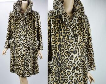 1960s Vintage Stroller Coat Animal Print Faux Fur Leopard by Safari B42 W44