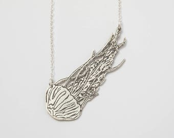 Silver Jellyfish Necklace - Jellyfish Costume - Ocean Jewelry - Medusa Necklace - Weird Sea Creature - Marine Biology - Tentacle Necklace -
