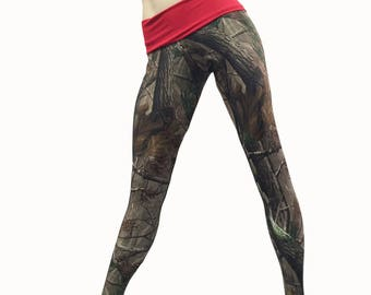 SALE m/l - Camo Pants - Workout Clothes - Hot Yoga - Camo - Camouflage - High Waist Pant - Fold Over - Legging - SXY Fitness - USA -