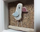 Scottish Beach Bird Picture - Seaside Decor - Handmade in Scotland - Sea Pottery and Driftwood - 3D Art Gift