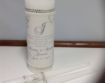 Unity Candle set bling out with rhinestones and pearls
