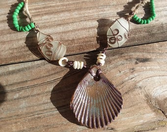 Shell Pendant and Beach Glass Necklace
