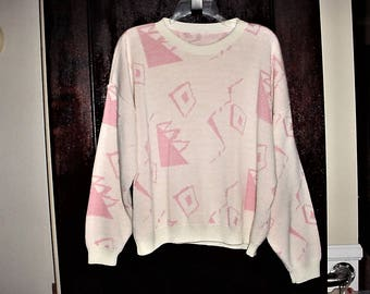 Vintage 80s Pink White Pullover Sweater Geometric Acrylic Long Sleeve Preppie