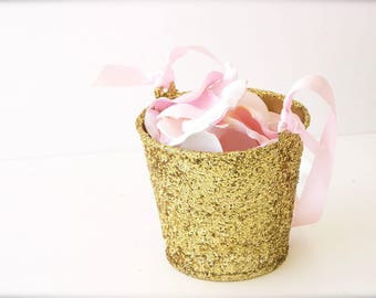 "Flower Girl Baskets + Gold Glitter Flower Girl Basket with ribbon Handle (4 1/2"" x 4 7/16""x 3 3/8"") ON SALE"