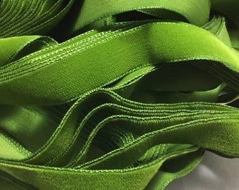 Vintage French Rayon VELVET Ribbon Taffeta Back - LEAF GREEN by the yard 5/8 inch