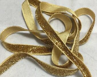 French VELVET Ribbon Lurex Metallic GOLD by the yard 5mm 3/8 inch