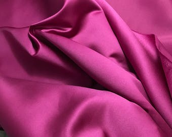 Faux Silk Duchess Satin Fabric RASPBERRY PINK 1 Yard
