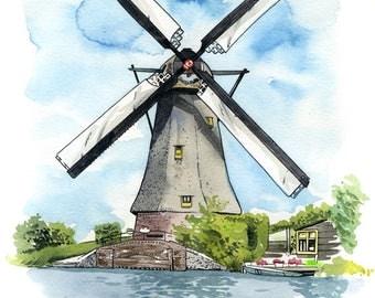Kinderdijk Windmill: Archival 11x17 art print of a painting of a Dutch windmill at Kinderdijk, The Netherlands