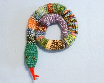 Draft Stopper Snake, Door Snake Mixed Colors, Crochet Draft Dodger, Door Draft Snake, Window Sitter, Stuffed Snake, 40 inches