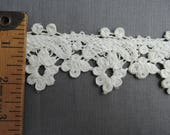 Vintage Floral Lace White Cotton 2 yards 2 inches wide, Wedding