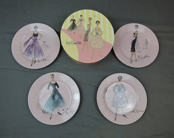 4 Plates by Rosanna 1950s Dresses Fashion, Pink Dessert Luncheon Dishes, with Box, Pink Parisian Fashion