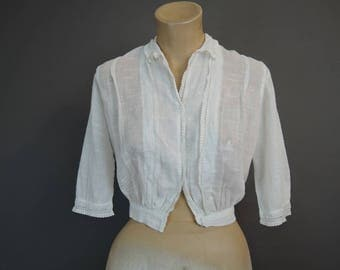 Vintage Edwardian Blouse, XS 32 inch bust, Early 1900s Antique White Cotton Blouse, 22 waist