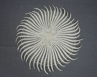 Vintage Spiral Dress Applique or Doily with Silver Studs, 8 inches