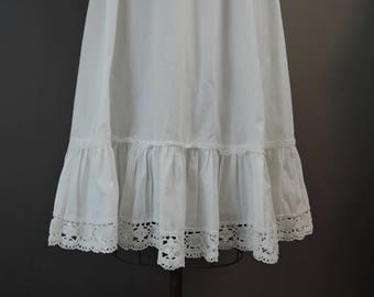 Vintage 1980s Cotton Slip by Laura Ashley, 28 to 34 waist Petticoat with Lace