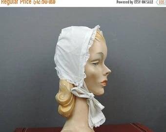 20% Sale - Vintage Cotton Baby Bonnet with Lace, Handsewn pre 1920s