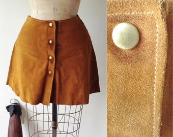 Smooth Like Butterscotch Suede Skirt | 1970s