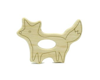 Fox Teether - Wooden Teether - Baby Teether - Teething Toys -  Teether - Baby Shower Gift - Wood Baby Toys - Fox Toy -TE59