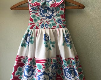 Little Girls Dress, Vintage Fabric, Vintage 1930's Tablecloth, One of a Kind, Size 5, Summer Beach Dress, Red and Blue Print Childs Dress