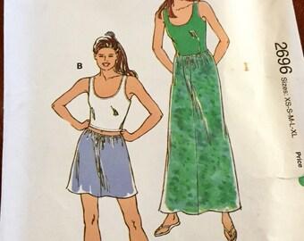 kwik Sew 2696 Tank Top and Skirt Pattern. Size XS-XL, uncut