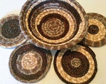 4 Coiled Fabric Coasters and 7 Inch Bowl Set, Candle Mat, Trivet,  Mug Rug - browns - Home and Living, Kitchen,  handmade