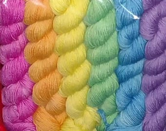 Bright Pastel Rainbow Sock Yarn Mini Skeins, Set of 6, 120g/552yds, Superwash Merino/Nylon