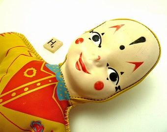 Vintage 1950's Vinyl Creepy Clown Harlequin Doll