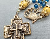 Twilight Blue And Bronze Rosary Unique Cross Mary Center, Opal highlights HeartFelt Rosaries
