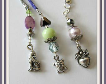 Beaded Bookmarker,  Books and Zines: Magazine,Bookmarker, Satin Purple, Silver Cord,, Wolf, Turtle, Heart Charms,Book accessories Item 1231