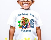 Super Mario Odyssey birthday boy t shirt with name