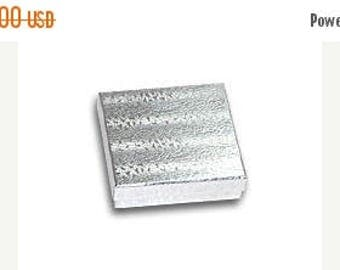 STOREWIDE SALE 20 Pack Silver Foil 3.5 X 3.5 X 1 Inch  Size Cotton Filled Jewelry Presentation Gift Boxes