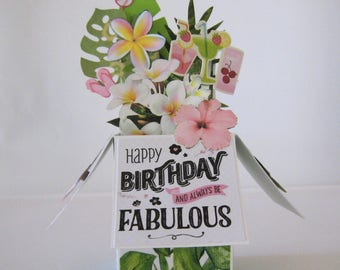 Box Card - Birthday Pop Up Card - Card in a box - Tropical Happy Birthday