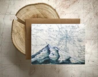 Mt Hood Blue Greeting Card, Mount Hood snow painting Mountain illustration card, Oregon mountain card, map art, blank card, mountaineering