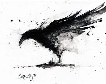 Crow painting - Ink on 8x12in canvas, A4, 20x30cm - original, abstract raven wings w black smoke