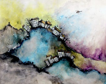 Big abstract city on a cloud 80x89cm - 31,5x35in- painting on a canvas sheet