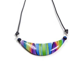 Summer Rainbow Choker Necklace, polymer clay jewelry Gifts for Her Birthday, Boho Necklace, Minimalist Bar Necklace