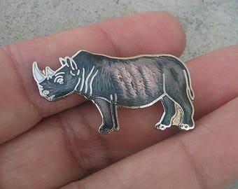 Rhinoceros Pin, Rhinoceros Brooch, Animal Pin, Animal Brooch, MAFCO Pin, MAFCO Rhinoceros Pin, Vintage Pin, Vintage Brooch, Vintage Jewelry