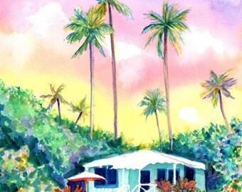Kauai Aqua Cottage Original Watercolor Painting from Hawaii Hawaiian Marionette Taboniar plantation cottages whimsical tropical art sunset