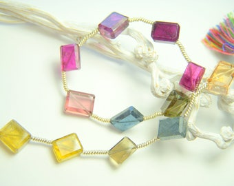 Multi Tourmaline Faceted Rectangles - Full Strand - 7.5 to 9mm - 8 Inches