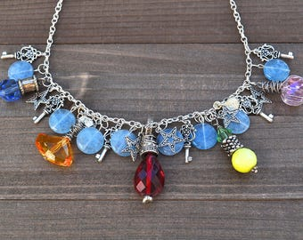 Lucky Star Necklace Good Juju Good Luck Key Charms Rainbow Necklace Bold Chakra Crystals Fringe Artisan Statement Piece
