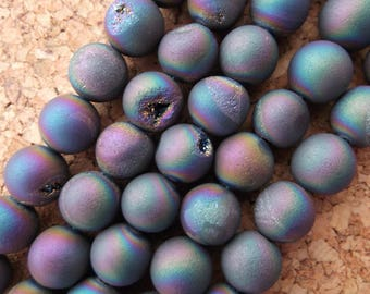 Strand of 10mm Rainbow Titanium Coated Druzy Quartz Beads