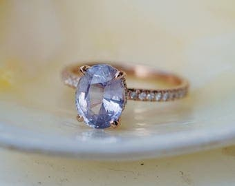 Blake Lively ring Lavender Blue Sapphire Engagement Ring oval cut 14k rose gold diamond ring 1.74ct Blue sapphire ring