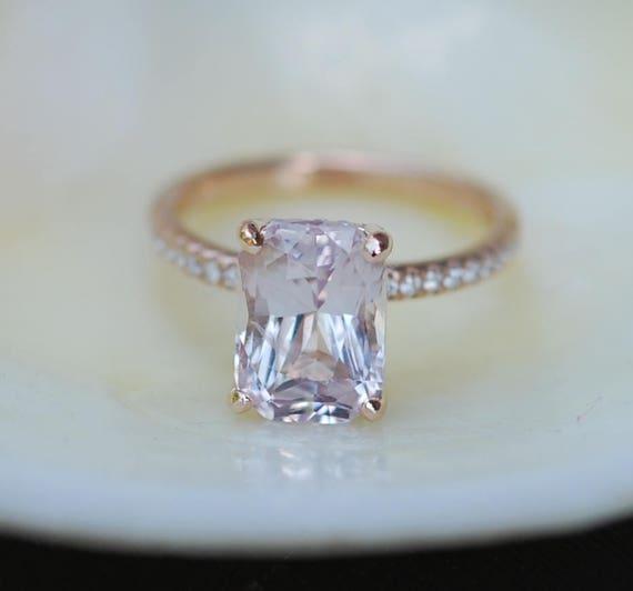 Emerald cut Sapphire Ring. Engagement Ring emerald cut 14k rose gold diamond ring 4.4ct sapphire ring Eidelprecious