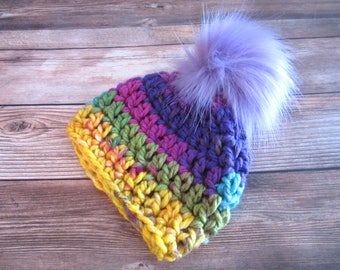 Baby Girl Hat With Pom Pom, Pom Pom Baby Beanie, Newborn Baby Beanie, Newborn Winter Hat, Baby Girl Beanie, Chunky Baby Beanie Bright Colors