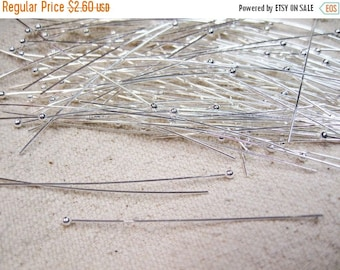 ON SALE Head Pins Silver Plated Ball End Headpins 2 inches 24 gauge 50 pcs F335B