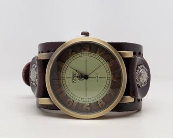 Steampunk watch. Steampunk wrist watch. leather cuff watch.